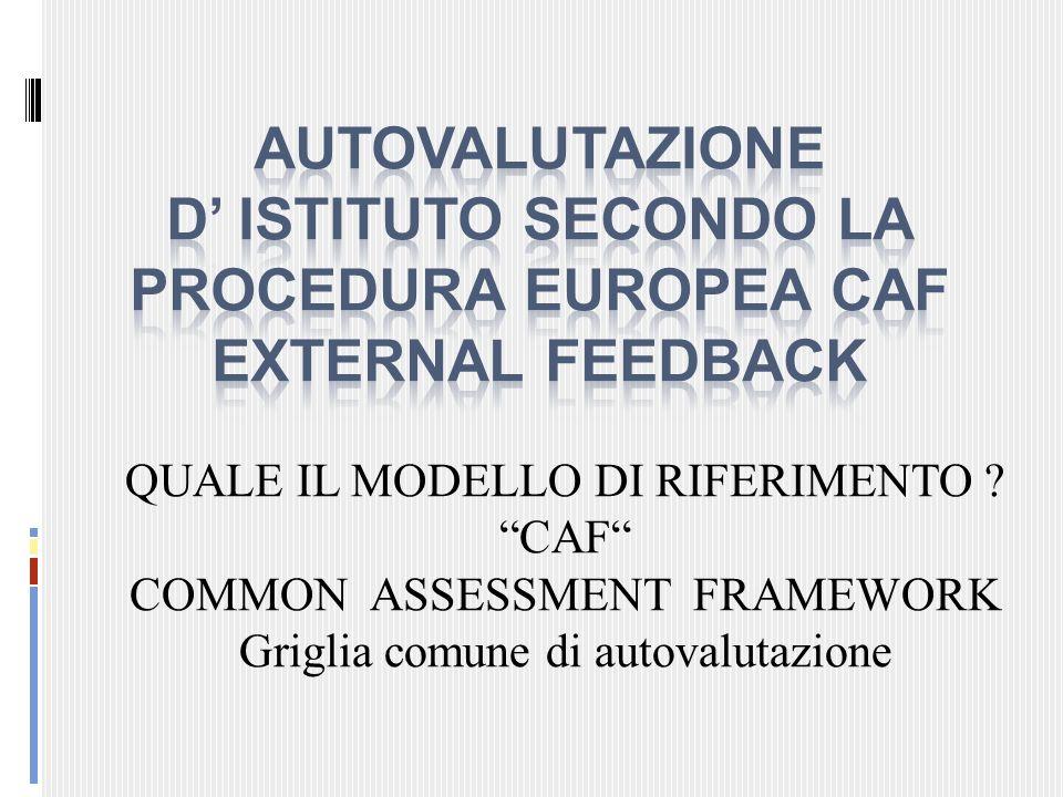 AUTOVALUTAZIONE D' ISTITUTO SECONDO LA PROCEDURA EUROPEA CAF EXTERNAL FEEDBACK