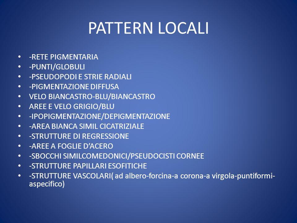 PATTERN LOCALI -RETE PIGMENTARIA -PUNTI/GLOBULI