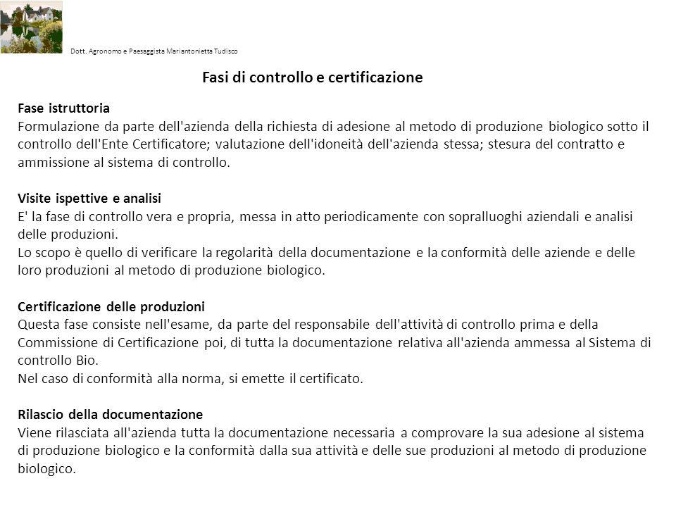 Fasi di controllo e certificazione