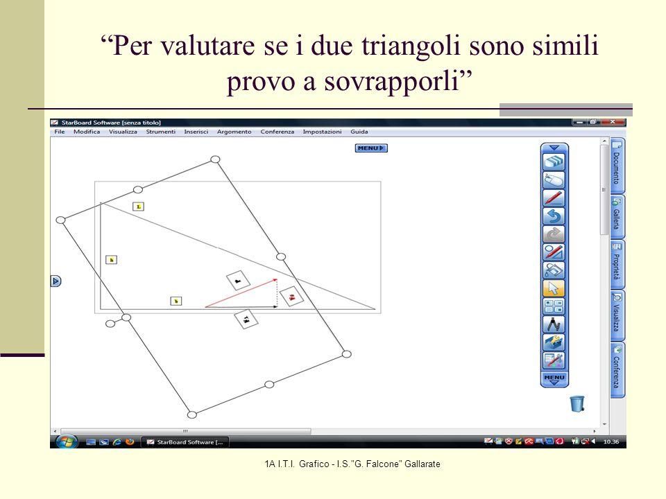 Per valutare se i due triangoli sono simili provo a sovrapporli