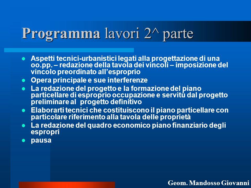 Programma lavori 2^ parte