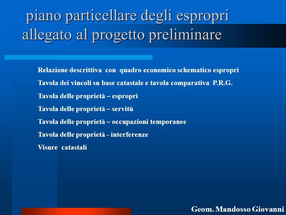 piano particellare degli espropri allegato al progetto preliminare