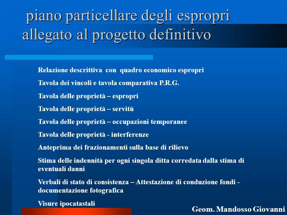 piano particellare degli espropri allegato al progetto definitivo