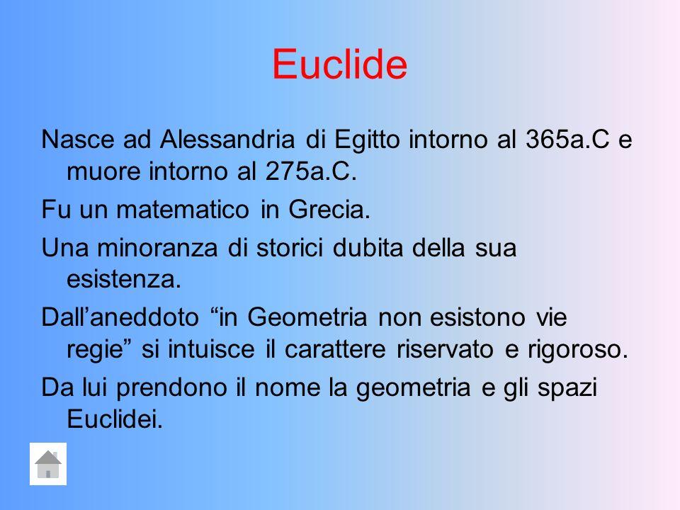 Euclide Nasce ad Alessandria di Egitto intorno al 365a.C e muore intorno al 275a.C. Fu un matematico in Grecia.