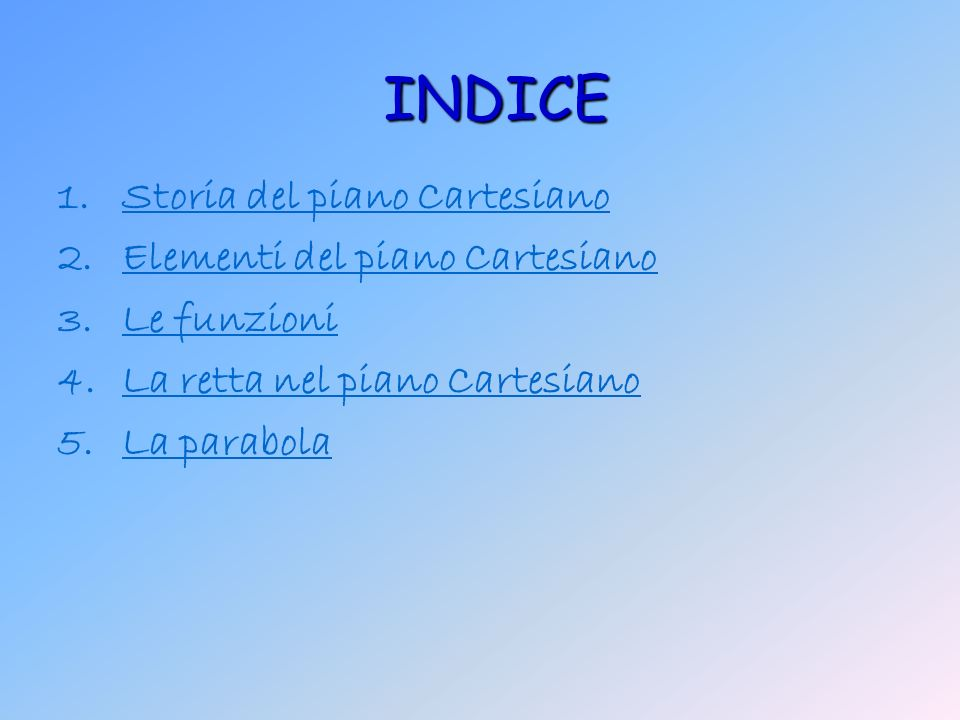 INDICE Storia del piano Cartesiano Elementi del piano Cartesiano