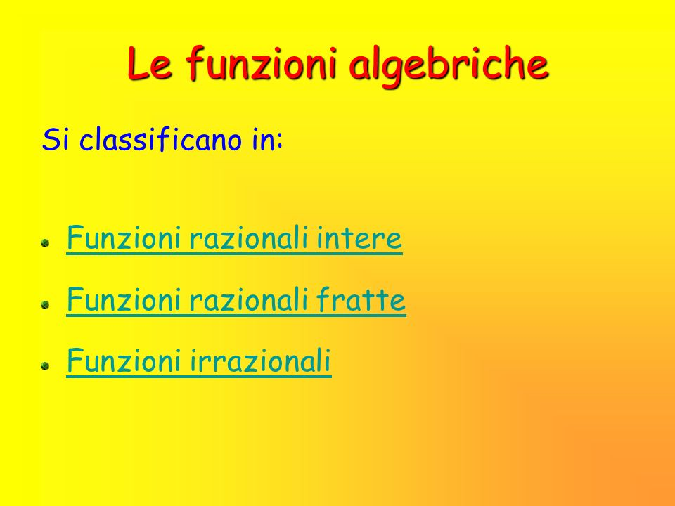 Le funzioni algebriche