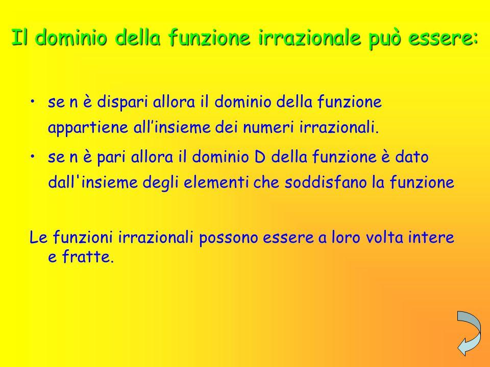 Il dominio della funzione irrazionale può essere: