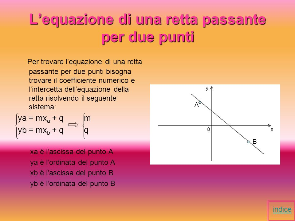 L'equazione di una retta passante per due punti