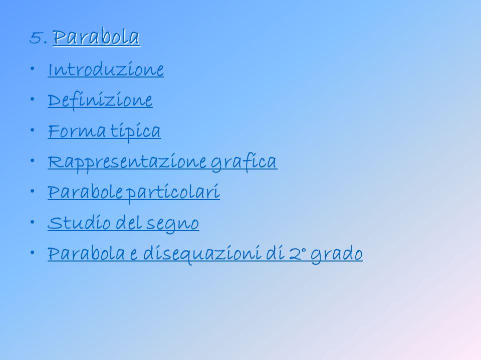 5. Parabola Introduzione. Definizione. Forma tipica. Rappresentazione grafica. Parabole particolari.