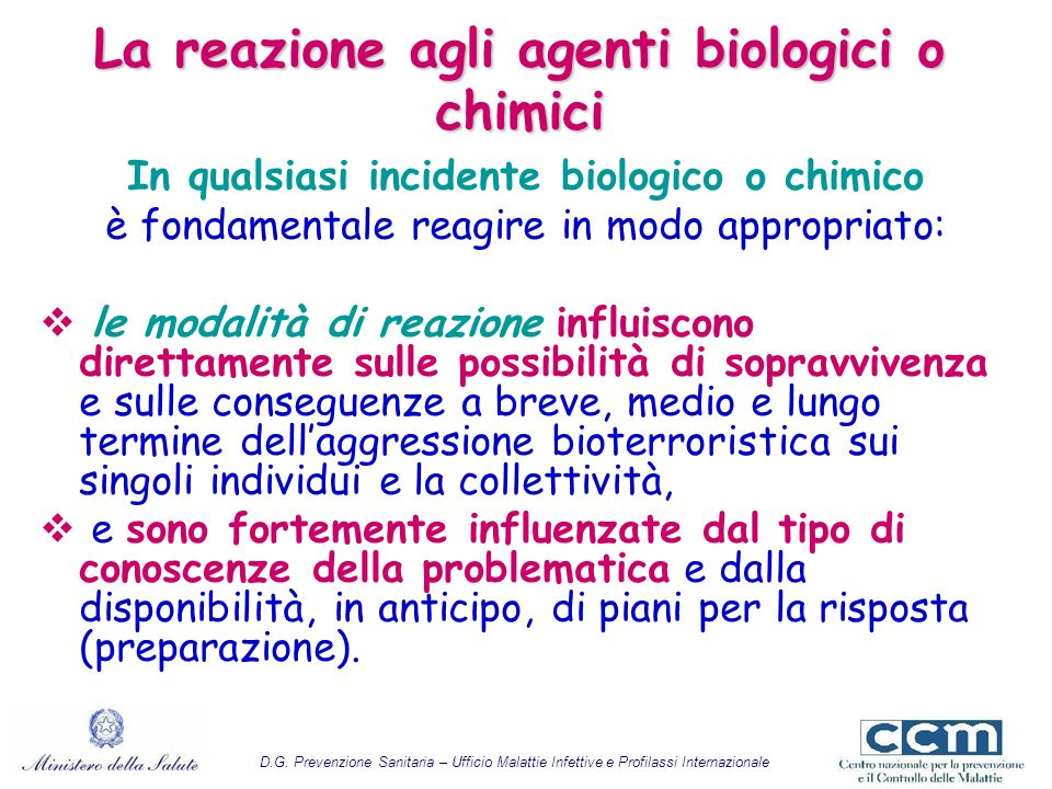 La reazione agli agenti biologici o chimici