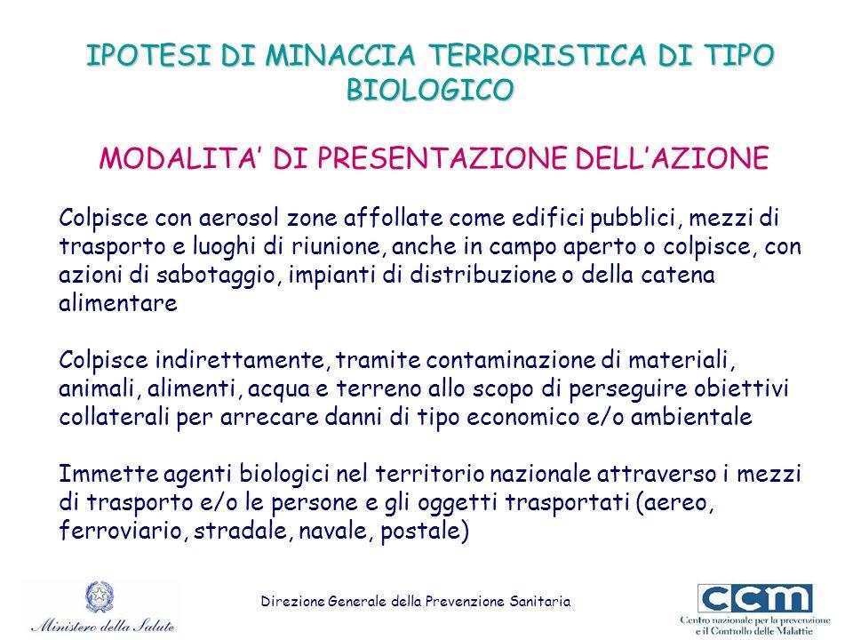IPOTESI DI MINACCIA TERRORISTICA DI TIPO BIOLOGICO MODALITA' DI PRESENTAZIONE DELL'AZIONE