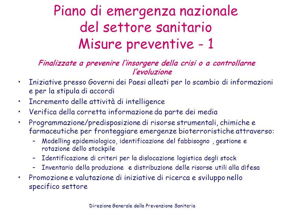 Piano di emergenza nazionale del settore sanitario Misure preventive - 1