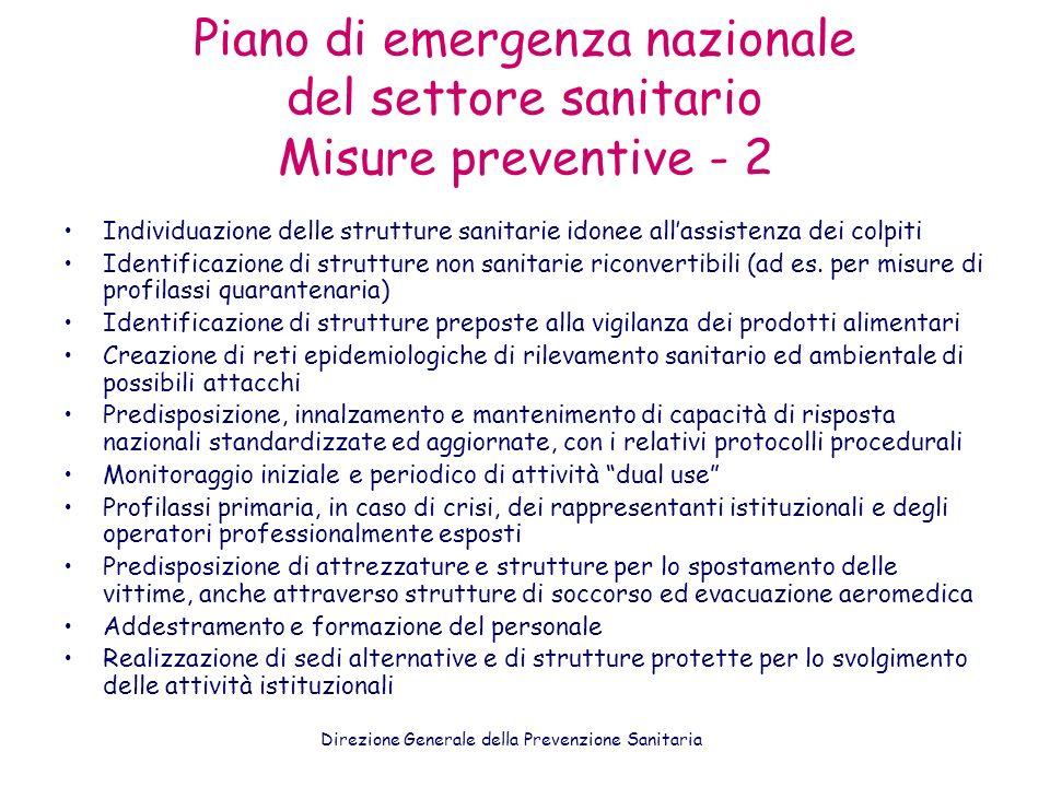 Piano di emergenza nazionale del settore sanitario Misure preventive - 2