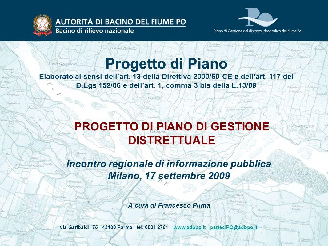 Progetto di Piano PROGETTO DI PIANO DI GESTIONE DISTRETTUALE