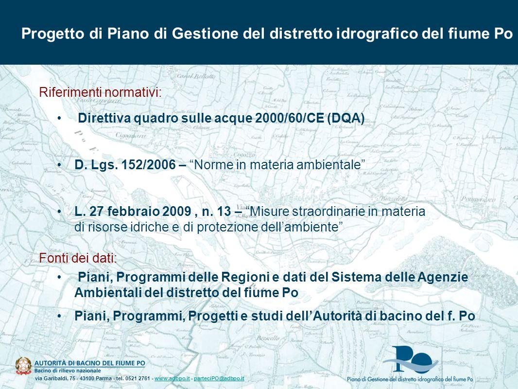 Progetto di Piano di Gestione del distretto idrografico del fiume Po