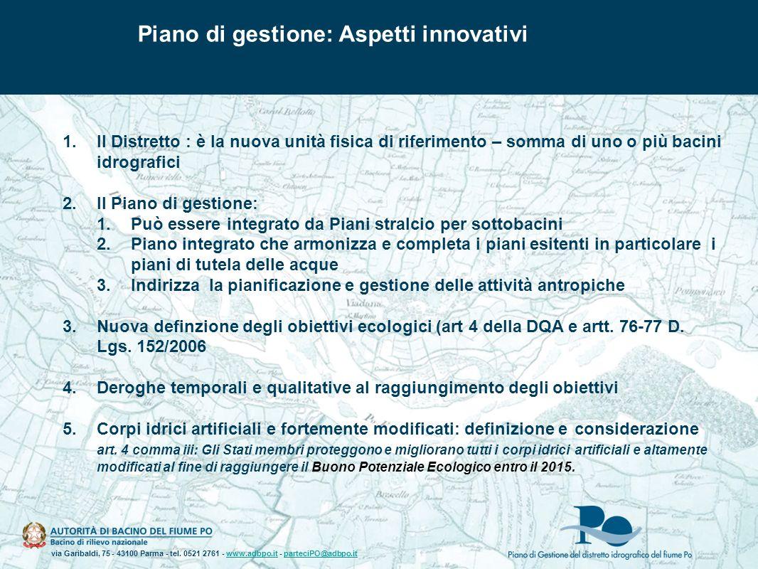 Piano di gestione: Aspetti innovativi