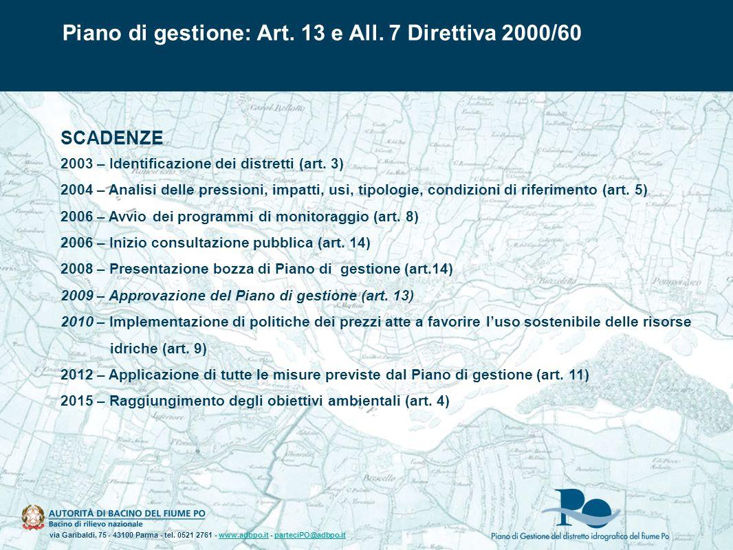 Piano di gestione: Art. 13 e All. 7 Direttiva 2000/60