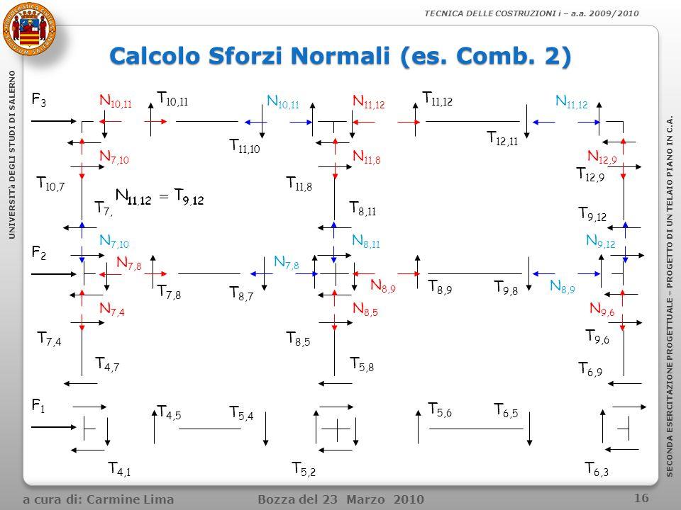 Calcolo Sforzi Normali (es. Comb. 2)