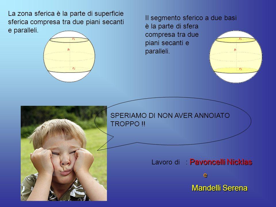 La zona sferica è la parte di superficie sferica compresa tra due piani secanti e paralleli.