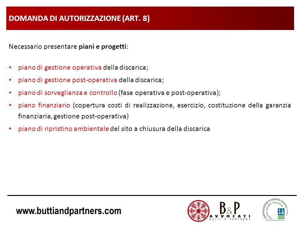DOMANDA DI AUTORIZZAZIONE (ART. 8)