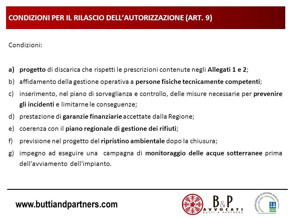 CONDIZIONI PER IL RILASCIO DELL'AUTORIZZAZIONE (ART. 9)