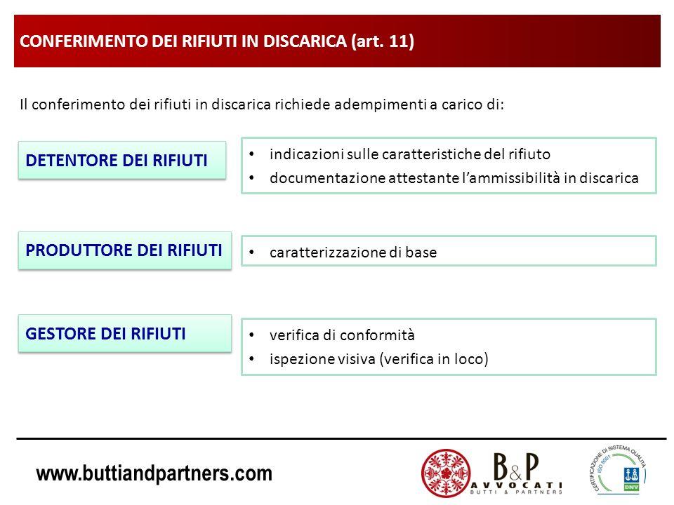 CONFERIMENTO DEI RIFIUTI IN DISCARICA (art. 11)