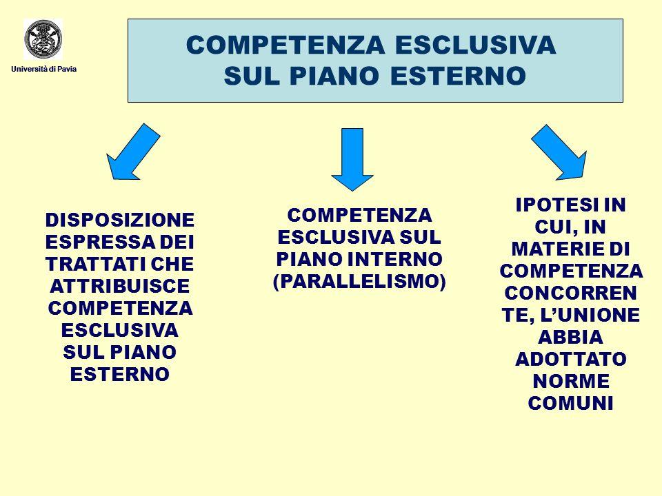 COMPETENZA ESCLUSIVA SUL PIANO INTERNO (PARALLELISMO)
