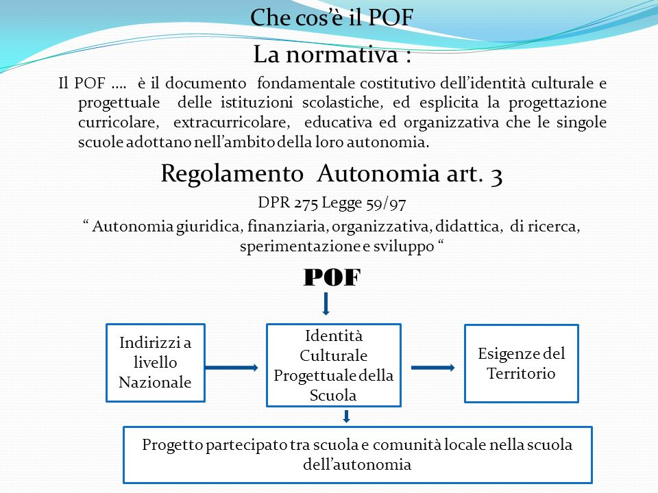 Regolamento Autonomia art. 3