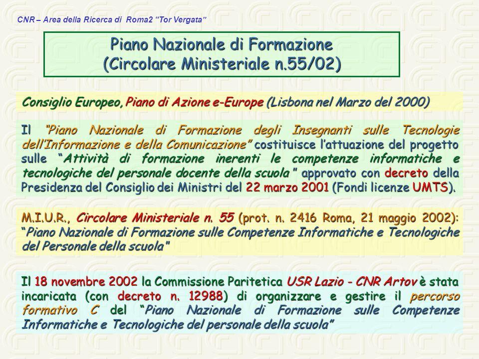 Piano Nazionale di Formazione (Circolare Ministeriale n.55/02)