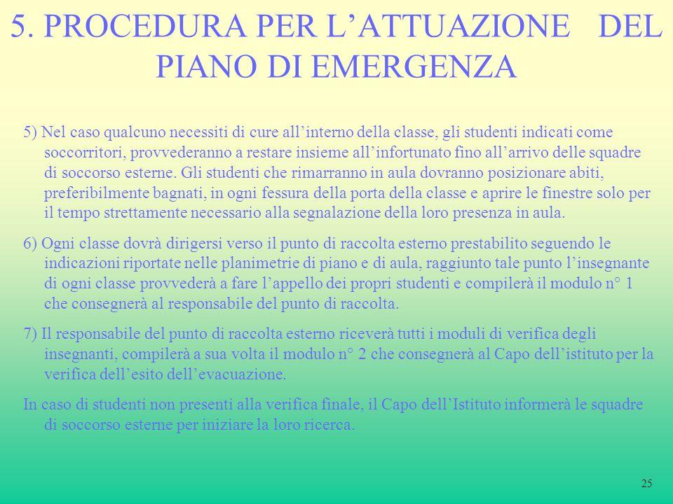 5. PROCEDURA PER L'ATTUAZIONE DEL PIANO DI EMERGENZA