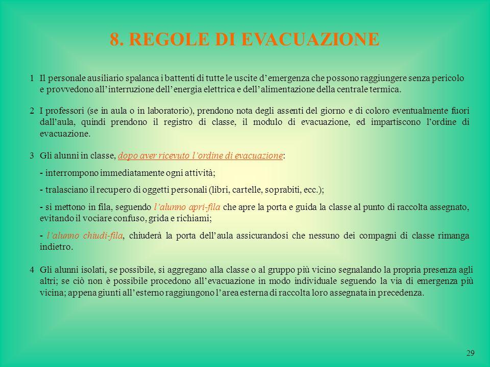 8. REGOLE DI EVACUAZIONE