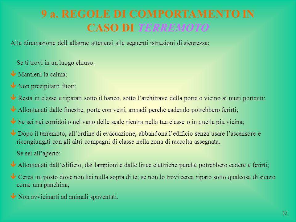 9 a. REGOLE DI COMPORTAMENTO IN CASO DI TERREMOTO