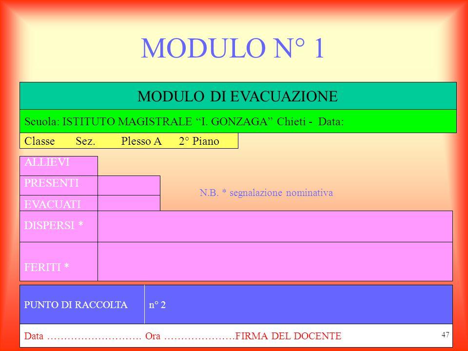 MODULO N° 1 MODULO DI EVACUAZIONE