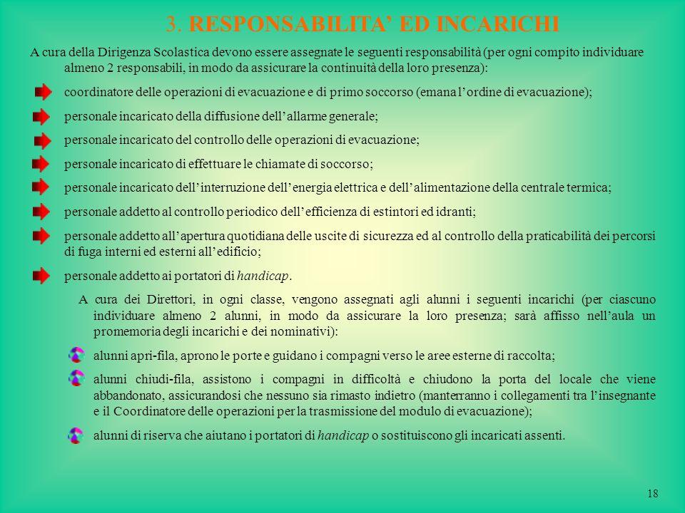 3. RESPONSABILITA' ED INCARICHI