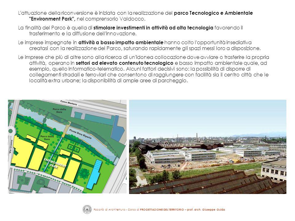 L attuazione della riconversione è iniziata con la realizzazione del parco Tecnologico e Ambientale Environment Park , nel comprensorio Valdocco.