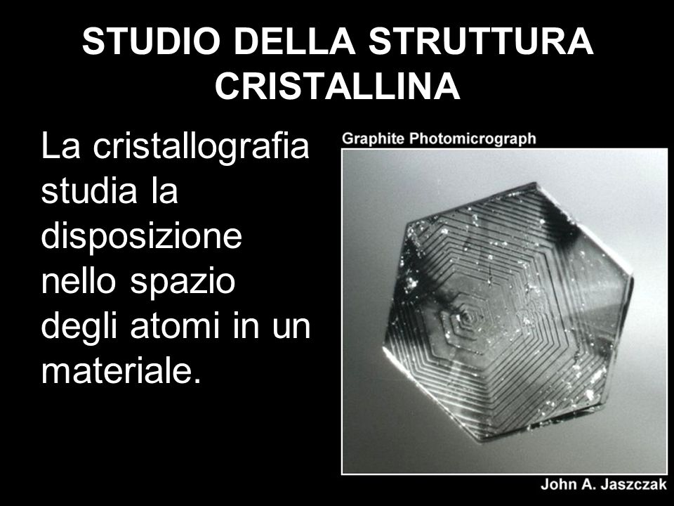 STUDIO DELLA STRUTTURA CRISTALLINA