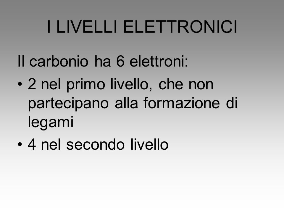 I LIVELLI ELETTRONICI Il carbonio ha 6 elettroni: