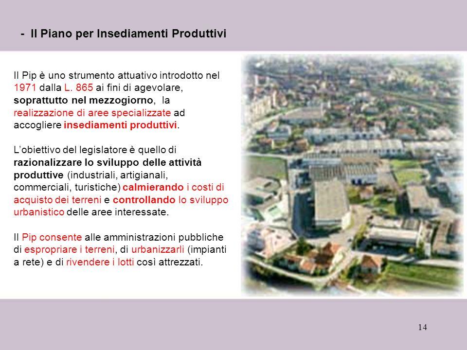 - Il Piano per Insediamenti Produttivi
