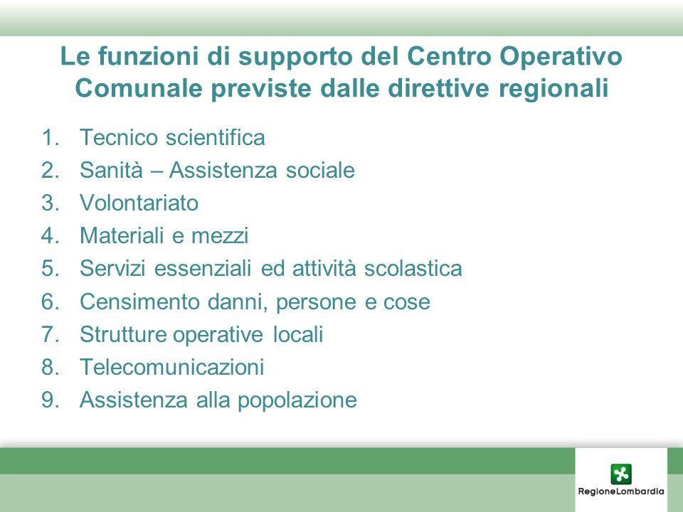 Le funzioni di supporto del Centro Operativo Comunale previste dalle direttive regionali