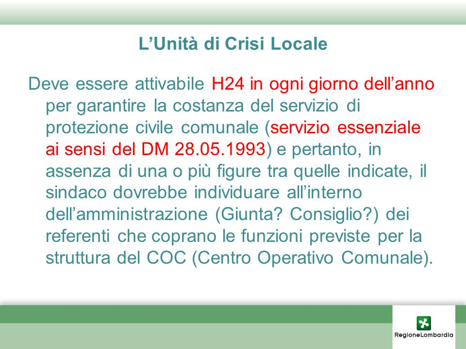L'Unità di Crisi Locale