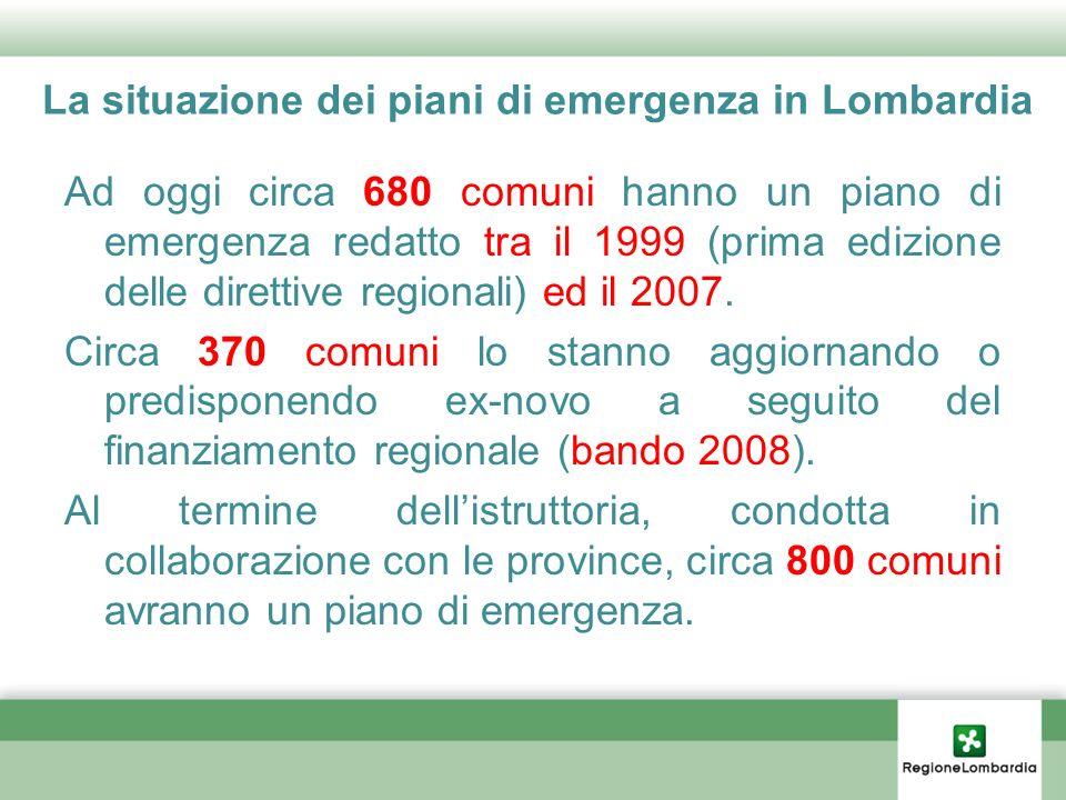 La situazione dei piani di emergenza in Lombardia
