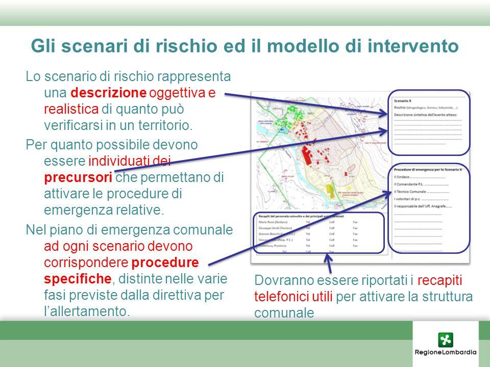 Gli scenari di rischio ed il modello di intervento