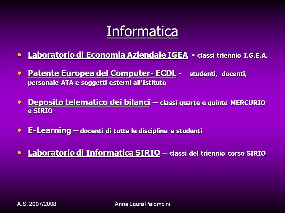 Informatica Laboratorio di Economia Aziendale IGEA - classi triennio I.G.E.A.