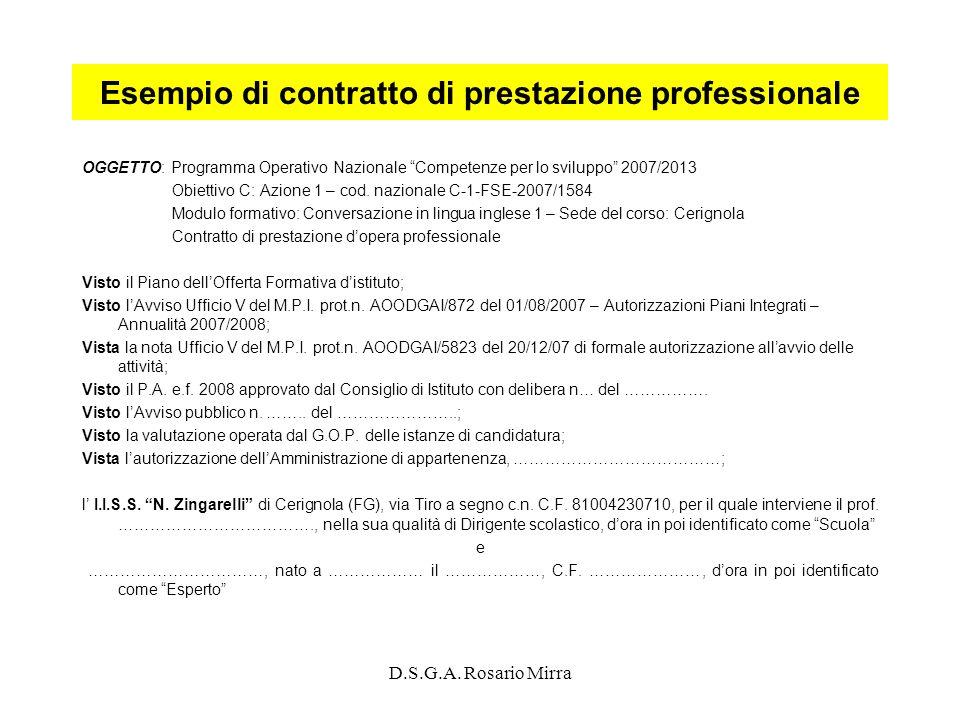 Esempio di contratto di prestazione professionale