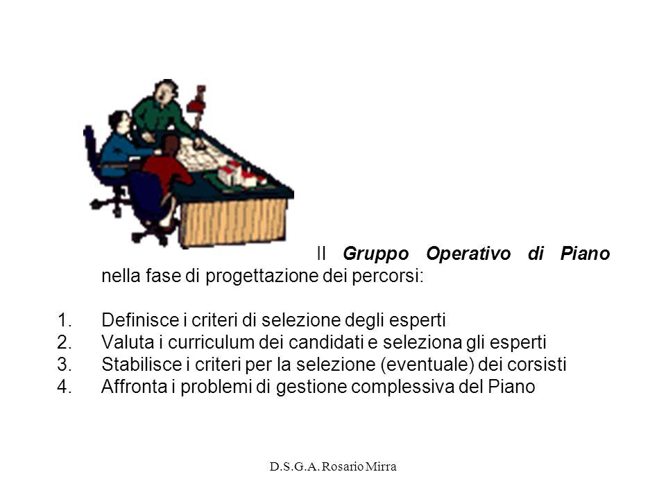 Il Gruppo Operativo di Piano nella fase di progettazione dei percorsi: