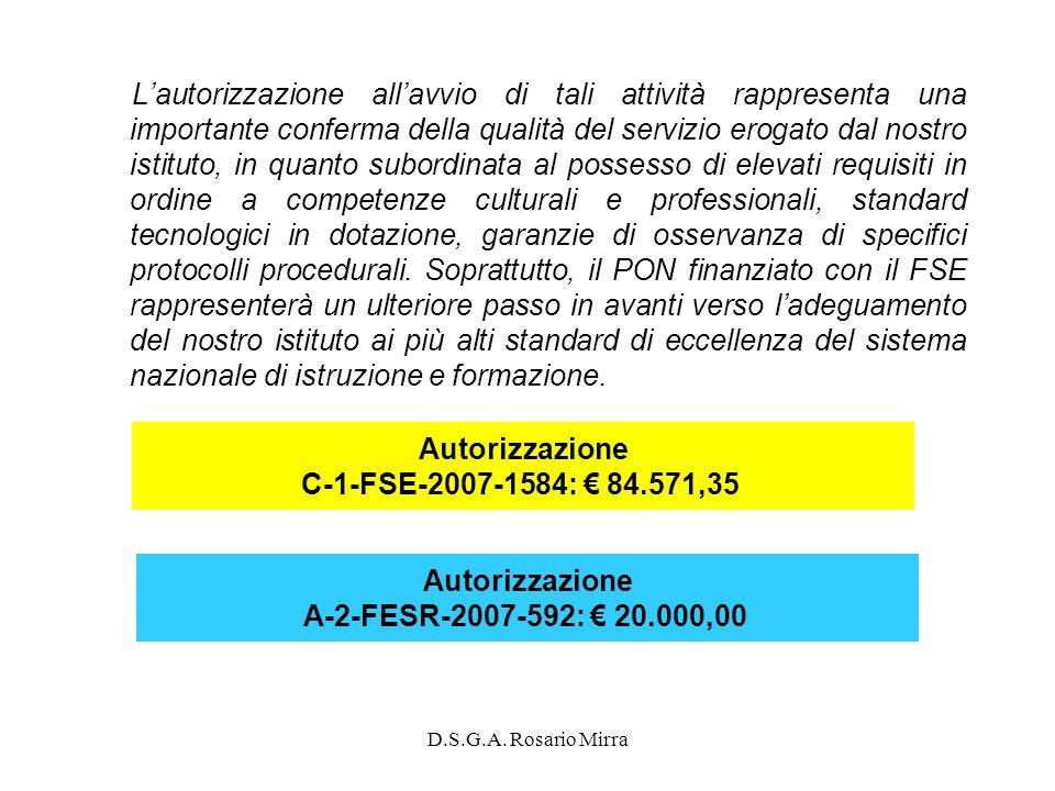 L'autorizzazione all'avvio di tali attività rappresenta una importante conferma della qualità del servizio erogato dal nostro istituto, in quanto subordinata al possesso di elevati requisiti in ordine a competenze culturali e professionali, standard tecnologici in dotazione, garanzie di osservanza di specifici protocolli procedurali. Soprattutto, il PON finanziato con il FSE rappresenterà un ulteriore passo in avanti verso l'adeguamento del nostro istituto ai più alti standard di eccellenza del sistema nazionale di istruzione e formazione.