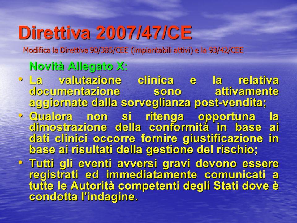 Direttiva 2007/47/CE Novità Allegato X: