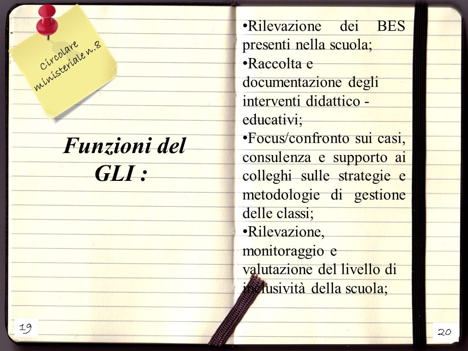 Funzioni del GLI : Rilevazione dei BES presenti nella scuola;