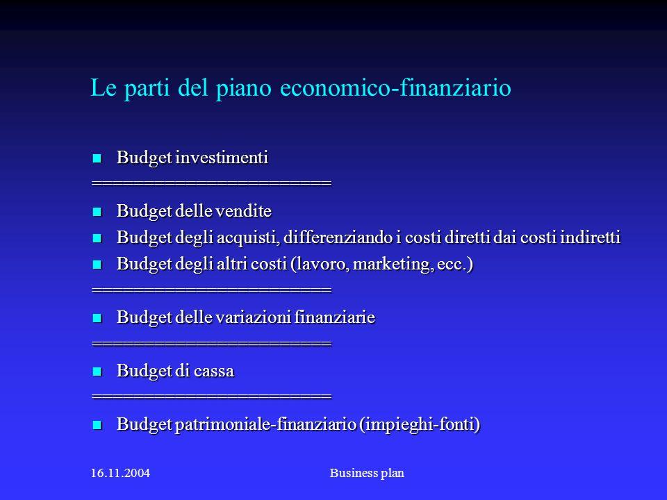 Le parti del piano economico-finanziario