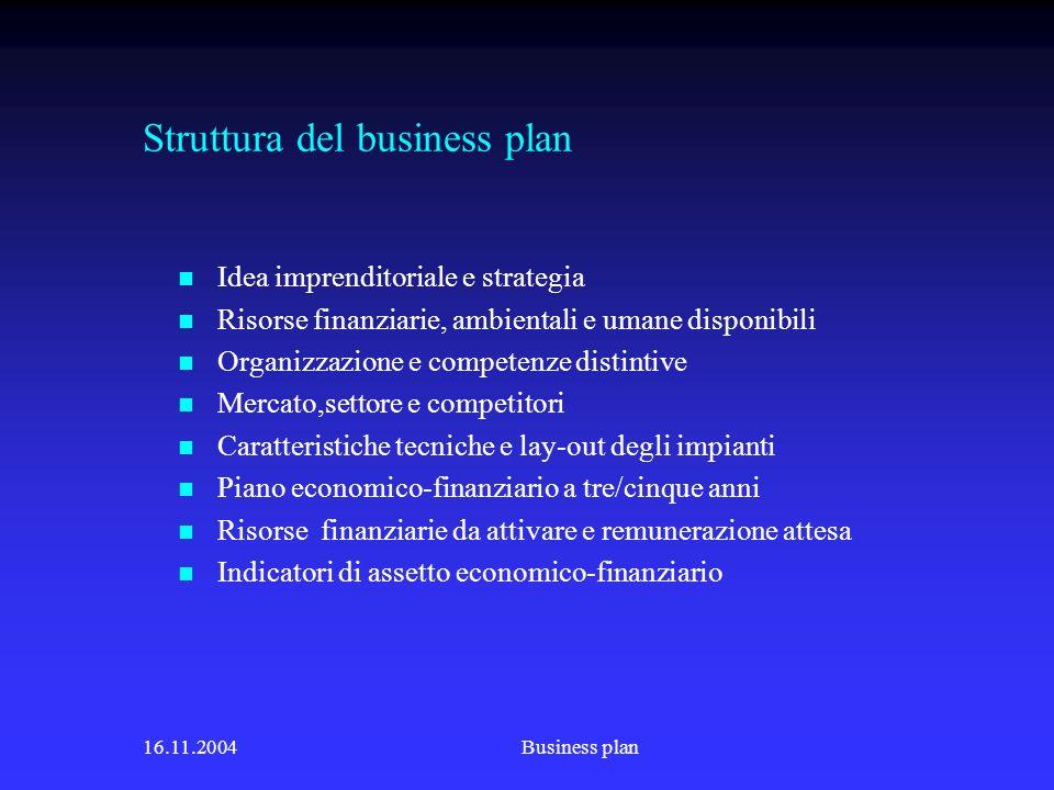 Struttura del business plan
